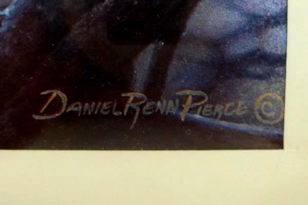 Metallic Foil Print Bald Eagle Perched on Log by Lake Daniel Renn Pierce Signed