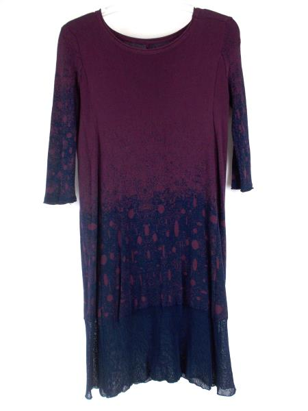 MORDENMISS Tunic Sweater Dress Stretch Purple & Blue 3/4 Sleeve