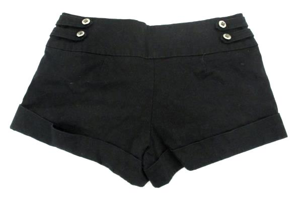 Womens Twenty One Black Cuffed Button Detail 2 Pockets Stretch Short Shorts Sz S