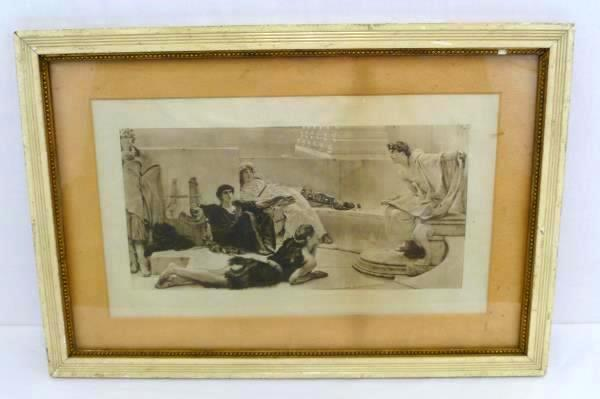 """L. Alma-Tadema """"Reading from Homer"""" Collotype Lithograph Framed Copyright 1888"""