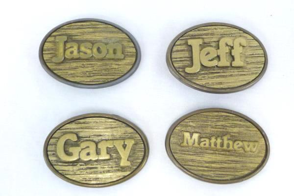 Lot of 4 Oden Brass & Woodgrain Personalized Nameplate Belt Buckles Made in USA