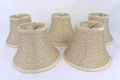 "Lot of 5 ""Silk"" Bell Candelabra Shades, Cream w/ Beaded Embroidery 6.75"""