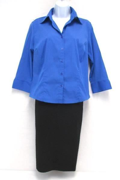 Lot 3 Women's Business Career Bodycon Pencil Skirt Mini Skirt Button Up Shirt M