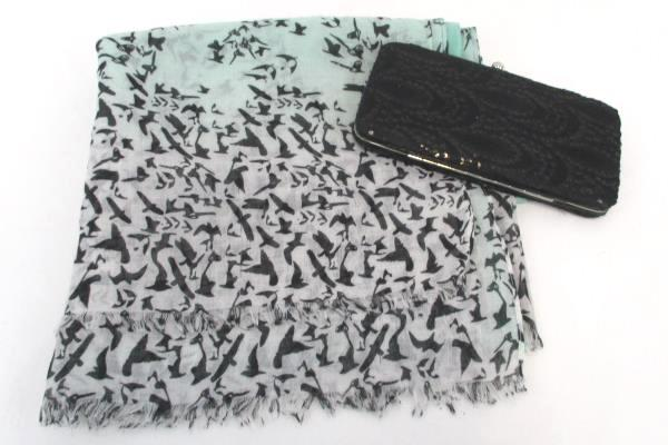 Lot of 2 Women's Accessories Black Clutch Clasp Wallet Teal Bird Print Scarf