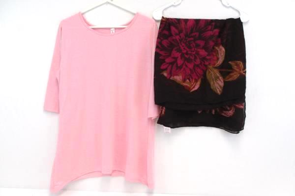 Left or Right Women's Pink Shirt 3/4 Sleeve Plus Size 3X Floral Scarf One Size