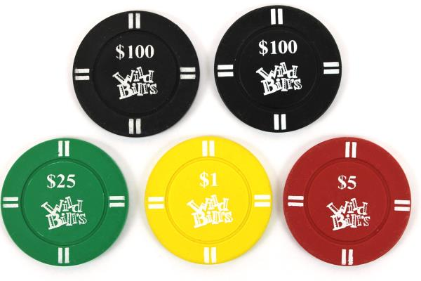 Lot of 5 Wild Bill's Casino Chips $1 $5 $25 $100 Poker Table Games