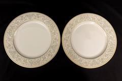 Gorham China Lorenzo De Medici Green & Gold Set of 2 Dinner Plates