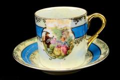 Vintage Lefton China Porcelain Demitasse Cup & Saucer Set #1798 Victoria Couple