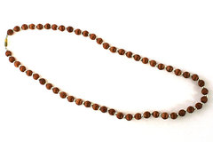 "24"" Brown Silk and Metallic Bead Necklace With Ribbed Barrel Clasp"