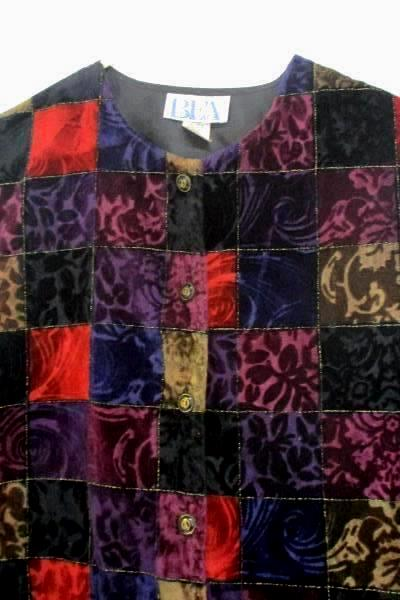BFA Classics Patchwork Blouse Top Sheer Sleeves Button Up Women's Size 12