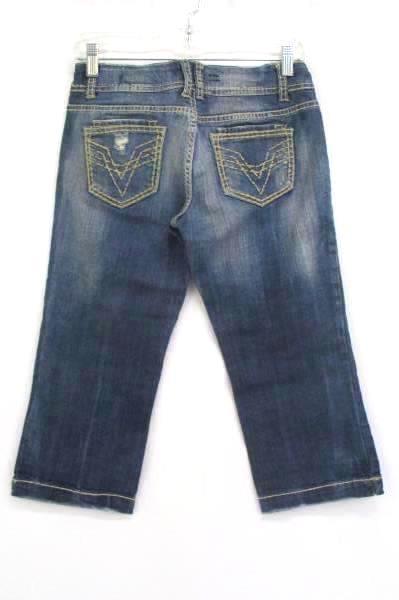 Distressed Denim Capri Pants Beige Thread Detail Accents Women's Size 1 by Vigos