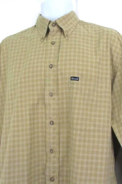 Faconnable Men's Button Up Shirt Dressy Beige Ivory Plaid Long Sleeve Medium