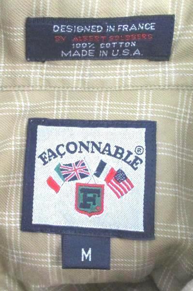Faconnable Men's Button Up Shirt Dressy Beige Ivory Plaid Long Sleeve Medium