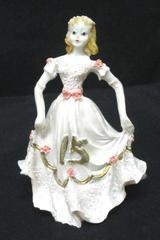 "Quinceanera Girl Figurine 3.75"" Blonde Pink Gold Dress Happy 15 Birthday Resign"