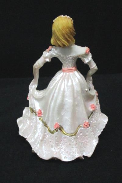 "Quinceanera Girl Figurine 3.75"" Blonde Pink Gold Dress Happy 15 Birthday Resign"