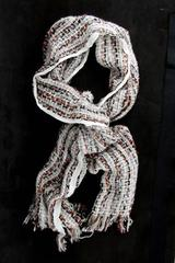 ANN TAYLOR LOFT Large Woven Scarf Basketweave Oyster Clay Red Black Metallic NWT