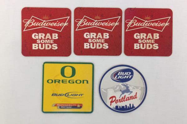 Lot of Budweiser Cardboard Paper Coasters - Oregon University Ducks & Portland
