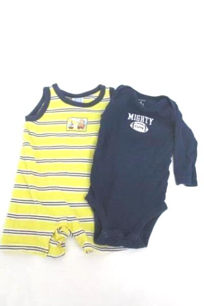 2 Boys Infant One Piece Striped Tank Long Sleeve Football Blue Yellow Sz 6M