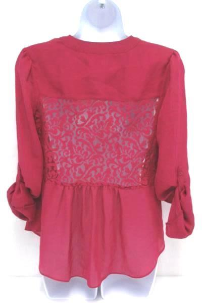 Sheer Tie Top Blouse Shirt Candies Hot Pink Button Up Lace Panel Back Women's S