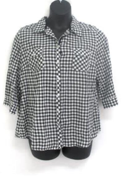 Lot of 2 Women's Tops Maurices Croft & Barrow Red Black White Striped Plaid Sz L