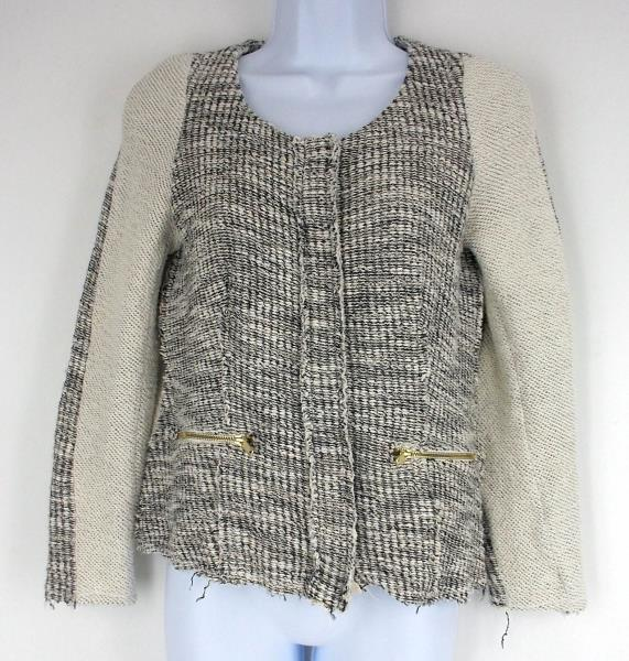 Anthropologie CARTONNIER Glimmer Tweed Snap Cardigan Jacket Sweater Women's S