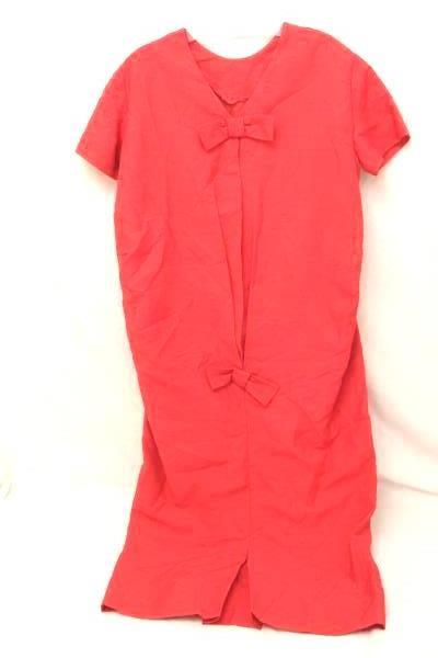 Women's Vintage 1960s 1970s Red Bow Button Back Dress Size 11