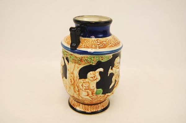 VTG Vase Urn Ceramic Hand Painted Grecian Design Two Handle Japan