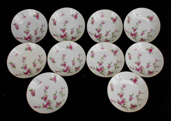 "MEITO CHINA Set of Ten 5.5"" Porcelain Dessert Fruit Bowls ""June"" Roses 10 pc"