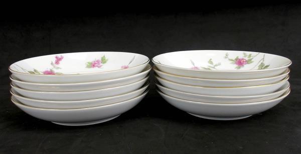 "MEITO CHINA Set of Two 5.5"" Porcelain Dessert Fruit Bowls ""June"" Roses 10 pc"