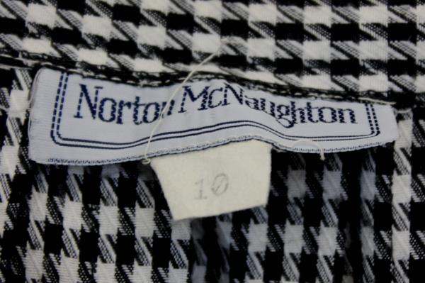 Norton McNaughton Black White Herringbone Pleated Business Casual Skirt 10