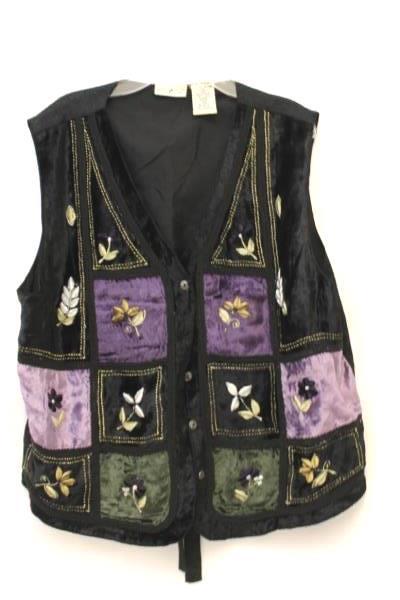 White Stag Black & Purple Crushed Velvet Floral & Trim Vest Women's XL 16/18