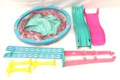 Lot of Barbie Pool Party Accessories 2 Water Slides & Pool Pink Blue Mattel