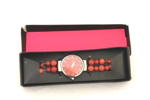 Red Beaded Quartz Women's Watch Wristwatch in Box