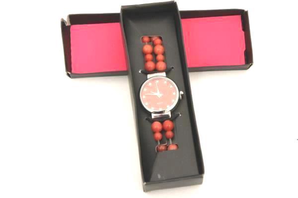 Red Beaded Quartz Women's Watch Wristwatch in Box