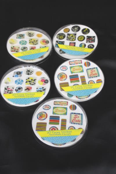 Lot of 153 Stickers Floral Smile Stripes Epoxy Sticker Joy Memo Pad Scrapbook