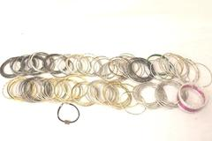 Huge Lot of 1.70 Lbs Of Bangle Bracelets Metal Silver Black Gold Amount 160
