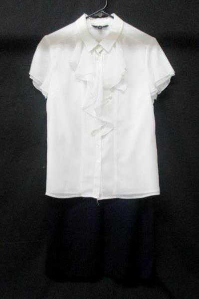 Women's Career Outfit Blouse Skirt White Blue Ruffles Pleated Size M/8