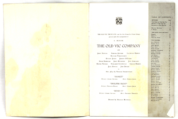 The Old Vic Company Presented by S. Hurok 1956-1957