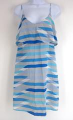 "JOIE ""Parthena Dress"" in Oasis Blue Geometric Print 100% Silk Ruffled Slip Sz M"