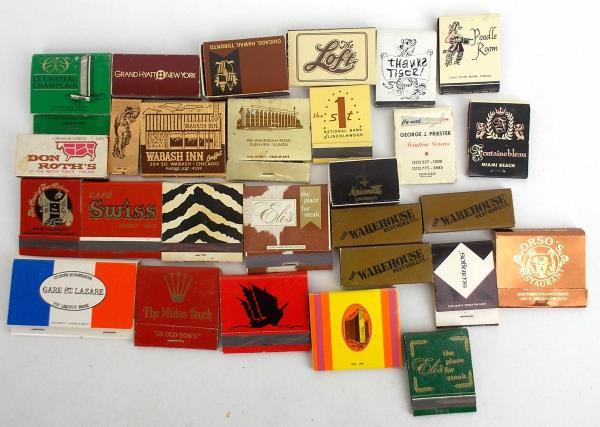 Lot 100+ Vintage Matchbooks - Hotel Restaurant Lounge Politics Advertisement