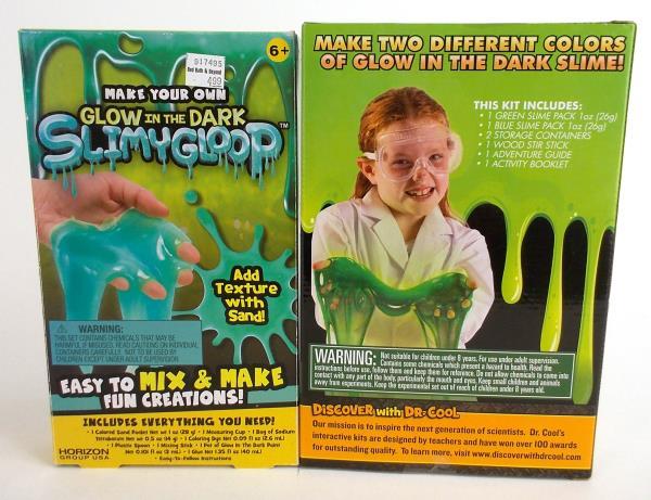2pc Lot GLOW IN THE DARK Slimy Gloop Make Your Own Science DIY Educational