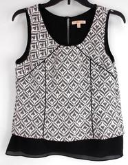Under Skies Black Ikat Layered Career Shell Geo Print Tank Top Women's SMALL