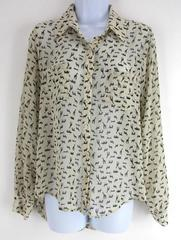 Xhiliration Ivory Black Novelty Zoo Animal Print Sheer Career Pocket Shirt SMALL
