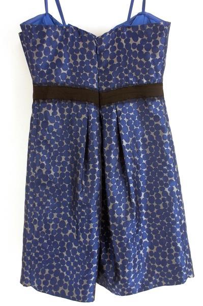 BCBG MAXAZRIA Mod Party Dress Jacquard Polka Dot Ink Blue Straples Womens Sz 12