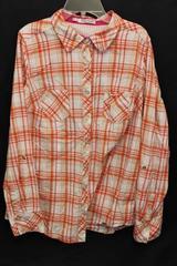 Maurices Orange Pink Soft Wash Boyfriend Long Sleeve Flannel Shirt Women's 0
