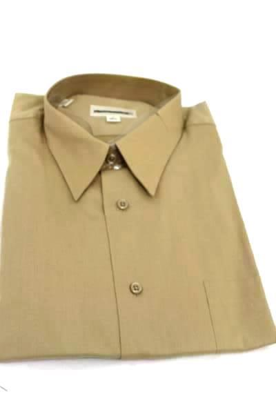 Pronto-Uomo Men's Size 17 (36/37) Brown Button Up Shirt 100% Cotton