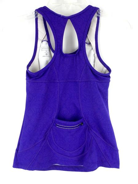 ATHLETA Printed Energy Tank Built in Bra Cycle Spin Run Yoga Purple Sz XS