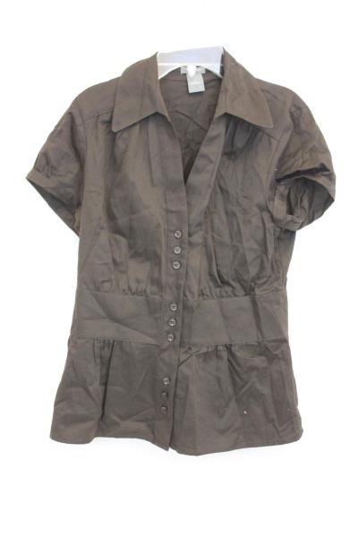 Womans Short Sleeved Brown Button Up Shirt Size 4 100% Cotton By Ann Taylor