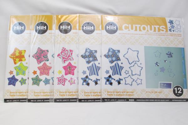 Lot of 5 Hip In A Hurry Star Shaped Cutouts Twelve (12) 11 1/4 Inch Pieces
