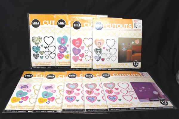 Lot of 9 Hip in a Hurry Heart Wall Stickers Twelve (12) 11 1/4 Pieces In Each